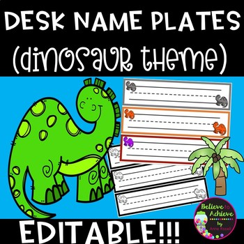 Editable Desk Name Plates (Dinosaur themed)