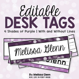 Editable Desk Tags Pretty Purple