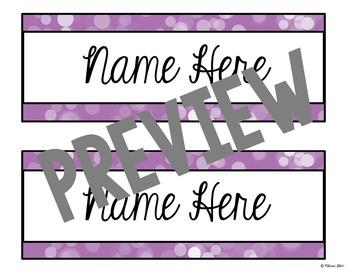 Editable Desk Tags Pretty Purple