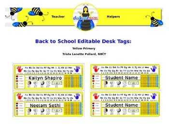 Back to School Editable Desk Tags: Primary (Yellow)