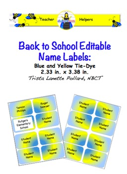 Back to School Desk Tags & Labels Set (Editable)