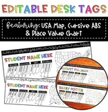 Editable Desk Tags with Place Value and USA Map