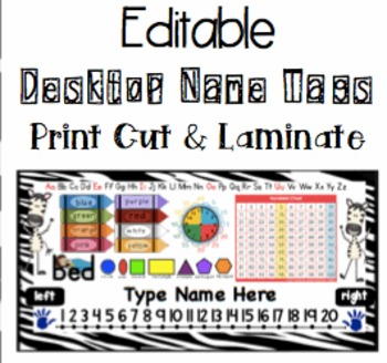 Editable Desktop Names - Zebra Themed