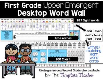Desktop Word Wall & Math Helper Name Tag- First Grade UPPER EMERGENT