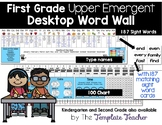 Desktop Word Wall & Math Helper Name Tag- First Grade UPPER EMERGENT