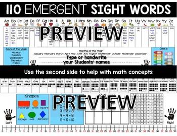 Desktop Word Wall & Math Helper Name Tag- Kindergarten EMERGENT words