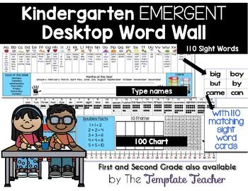 Editable Desktop Word Wall & Math Helper Name Tag- Kinderg