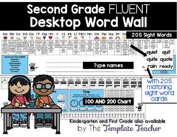 Editable Desktop Word Wall & Math Helper Name Tag- Second Grade FLUENT words