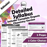 Editable Detailed Syllabus - Organic Chemistry Version Included