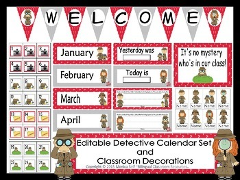 Detective Calendar Set and Classroom Decorations {Editable}