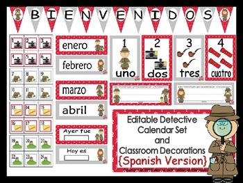 Detective Calendar and Classroom Decorations {Spanish Vers
