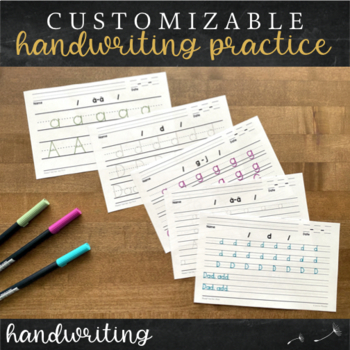 Editable Differentiated Handwriting Paper