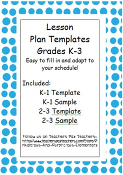 Editable Differentiated Lesson Plan Template Kindergarten First Second Third