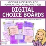 Editable Digital Choice Board Templates
