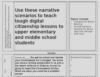Intermediate and Middle School Editable Digital Citizenship Station Flipbook