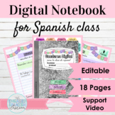 Editable Digital Interactive Notebook Template for Spanish