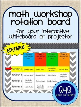 Editable Digital Math Workshop Rotation Board for Interact