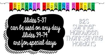 Editable Digital Morning Meeting Slides