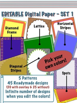 Editable Digital Paper - Set 1  -  Pick your own colors!