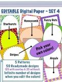 Editable Digital Paper - Set 4  -  Pick your own colors!