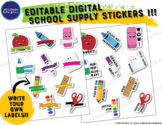 Editable Digital Stickers for Distance Learning - School Supplies