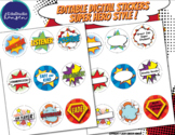 Editable Digital Stickers for Distance Learning - Super Hero