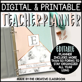 Editable Digital Teacher Planner and Binder - Marble Theme