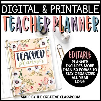 Editable Digital Teacher Planner and Binder - Pretty Pastels Theme