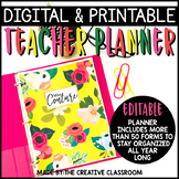 Editable Digital Teacher Planner and Binder - Stylish Floral Theme