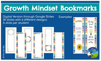 Growth Mindset: Student Bookmark Creation Project - Digital or Print - Editable