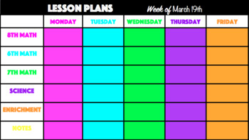 Editable Digital or Print Lesson Planning Template