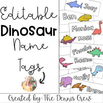 Editable Dinosaur Name Tags