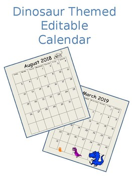 Editable Dinosaur Themed 12 Month Calendar