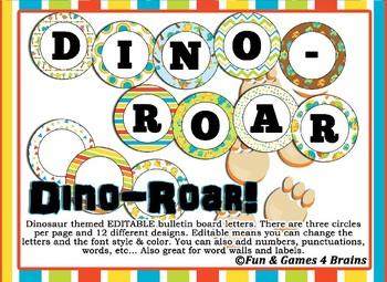 Editable Dinosaur themed bulletin board letters, labels