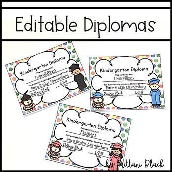 Editable Diplomas for Preschool and Kindergarten