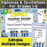 Editable Diplomas for Grade 1-6 & Elementary School, Graduation Invitations