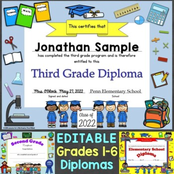 Diplomas & Graduation Invitations Editable for Grades 1-6, Elementary School