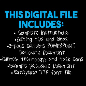 FREE! Editable Disclosure Document for Science Class