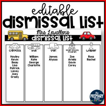 EDITABLE Dismissal List Templates