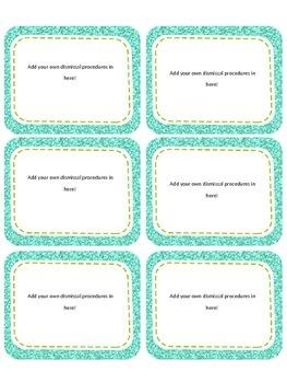Editable Dismissal Procedure Cards