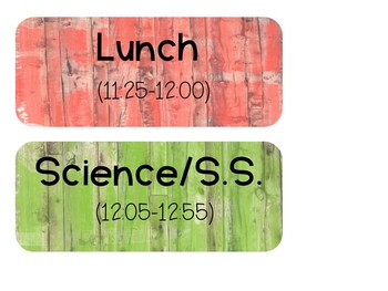 Editable Distressed Wood Schedule/Subject Signs for Your Board or Wall