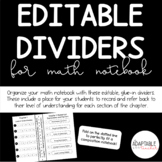 Editable Dividers for Math Notebooks