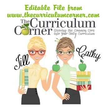 Editable Document from www.thecurriculumcorner.com