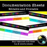 Editable Documentation Sheets