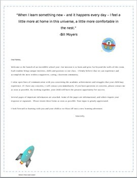 Editable Documents Back to School Space Theme