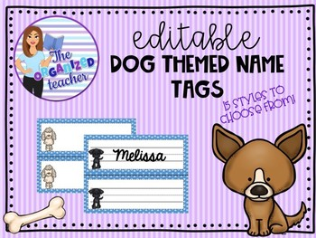 Editable Dog Themed Name Tags