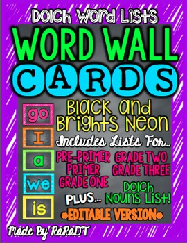 *Editable* Dolch Word Wall Cards {Black & Brights Neon}