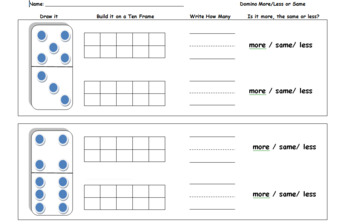 Editable Domino More or Less Comparison Worksheet