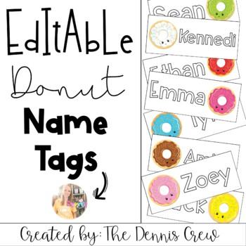 Editable Donut Name Tags