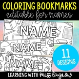 Editable Doodle Coloring Student Name Bookmarks